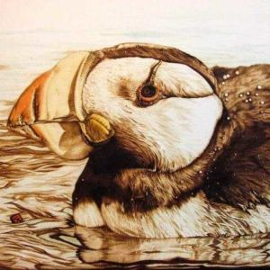 Firepainting artwork of a bird by Cynthia Longhat-Adams