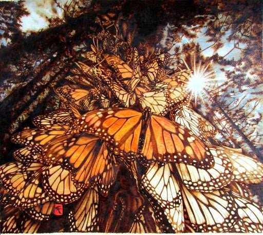 Firepainting artwork of butterflies by Cynthia Longhat-Adams