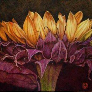 Firepainting artwork of a flower by Cynthia Longhat-Adams