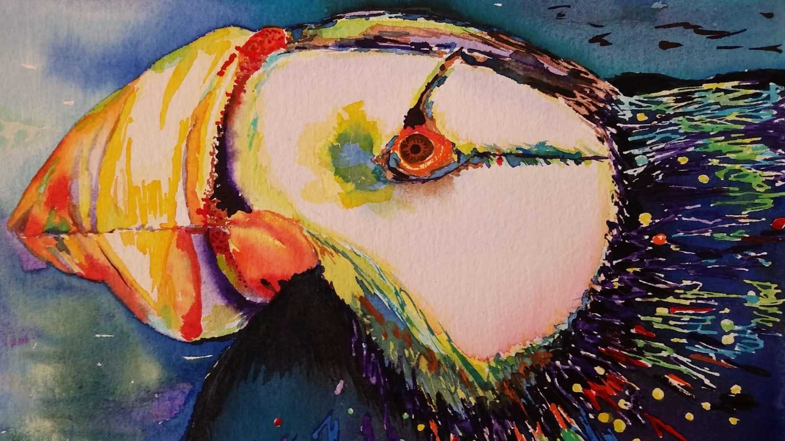 Watercolor painting of a colorful bird by Catherine Hingson