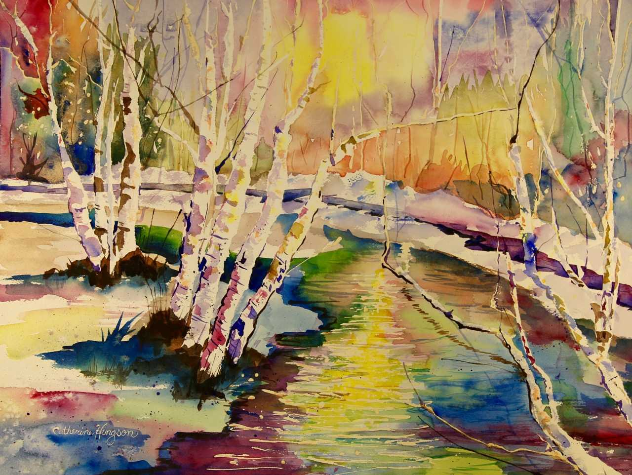Watercolor painting of a colorful stream with trees by Catherine Hingson