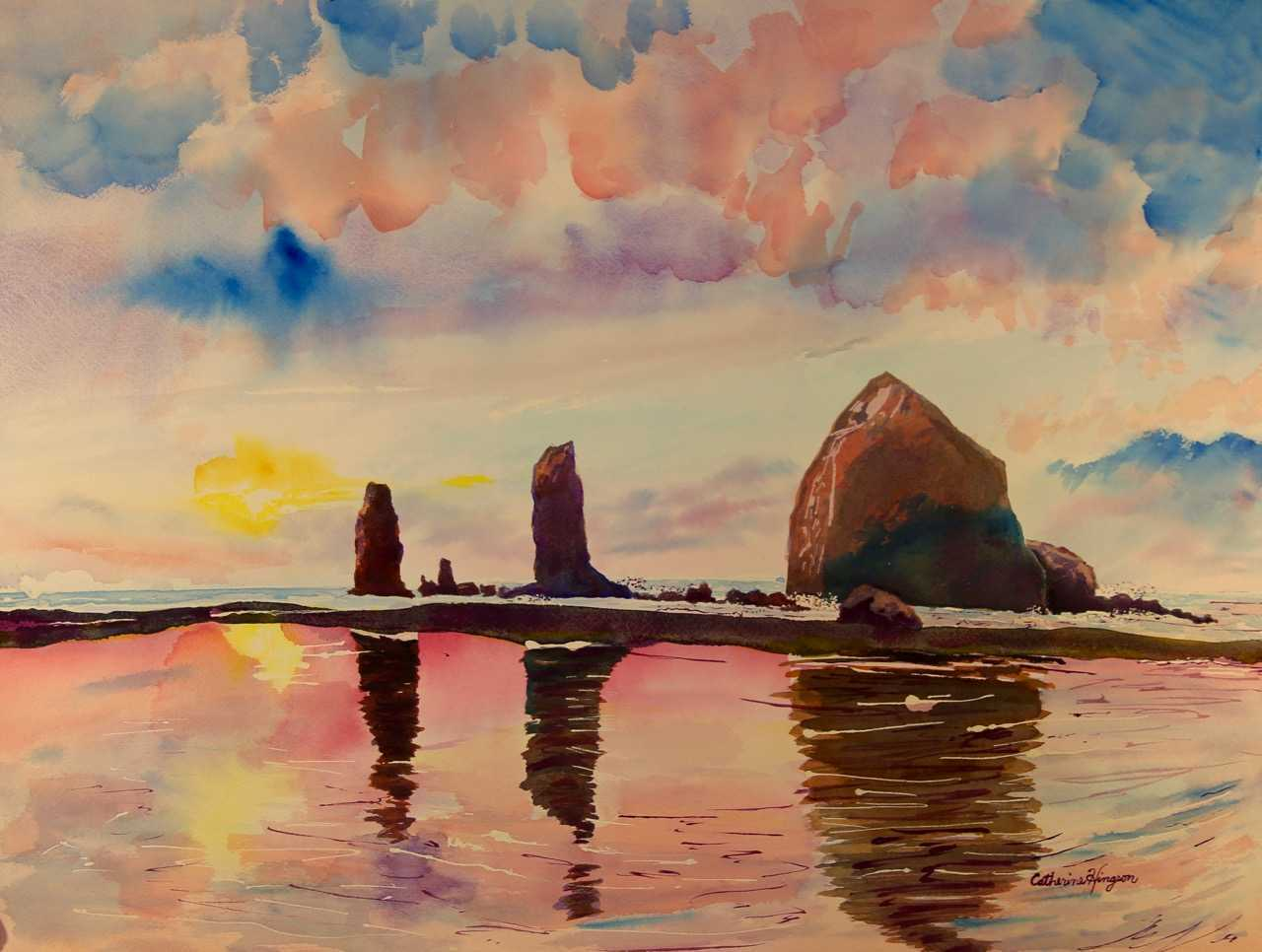 Watercolor painting of Haystack Rock by Catherine Hingson