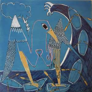 Blue Bird paint by Ben Soeby Blue bird standing on boats on a big wave