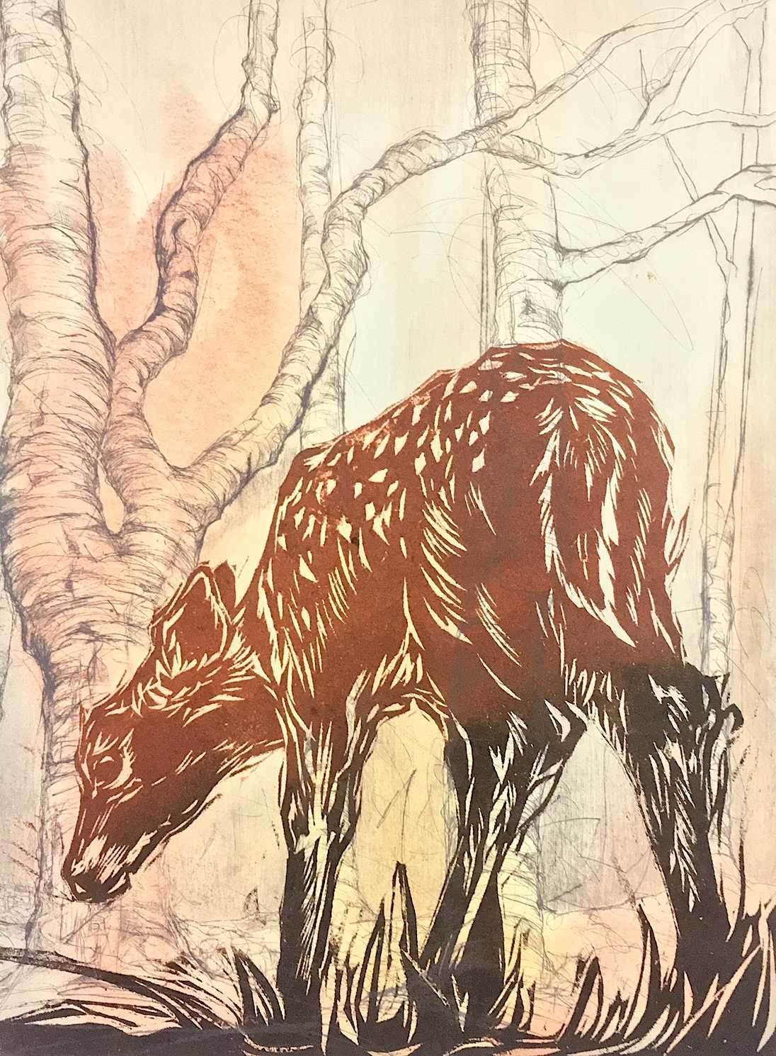 Handmade print of a young deer in the forest. Reds, black and white