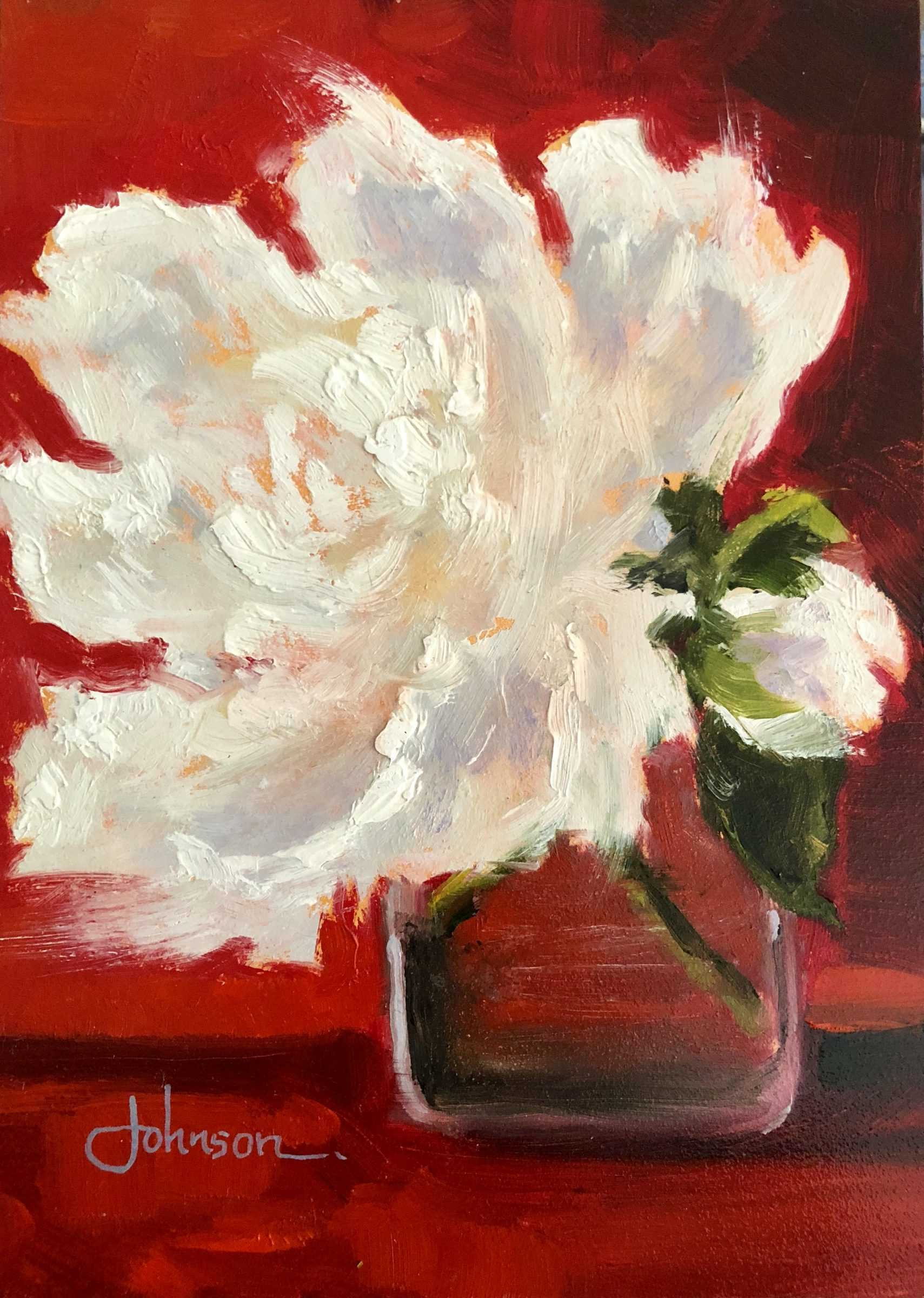 Painting of a white flower in jar