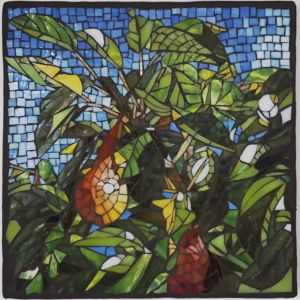 Glass mosaic of pears on pear tree