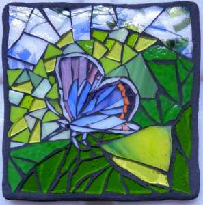Glass mosaic of blue butterfly