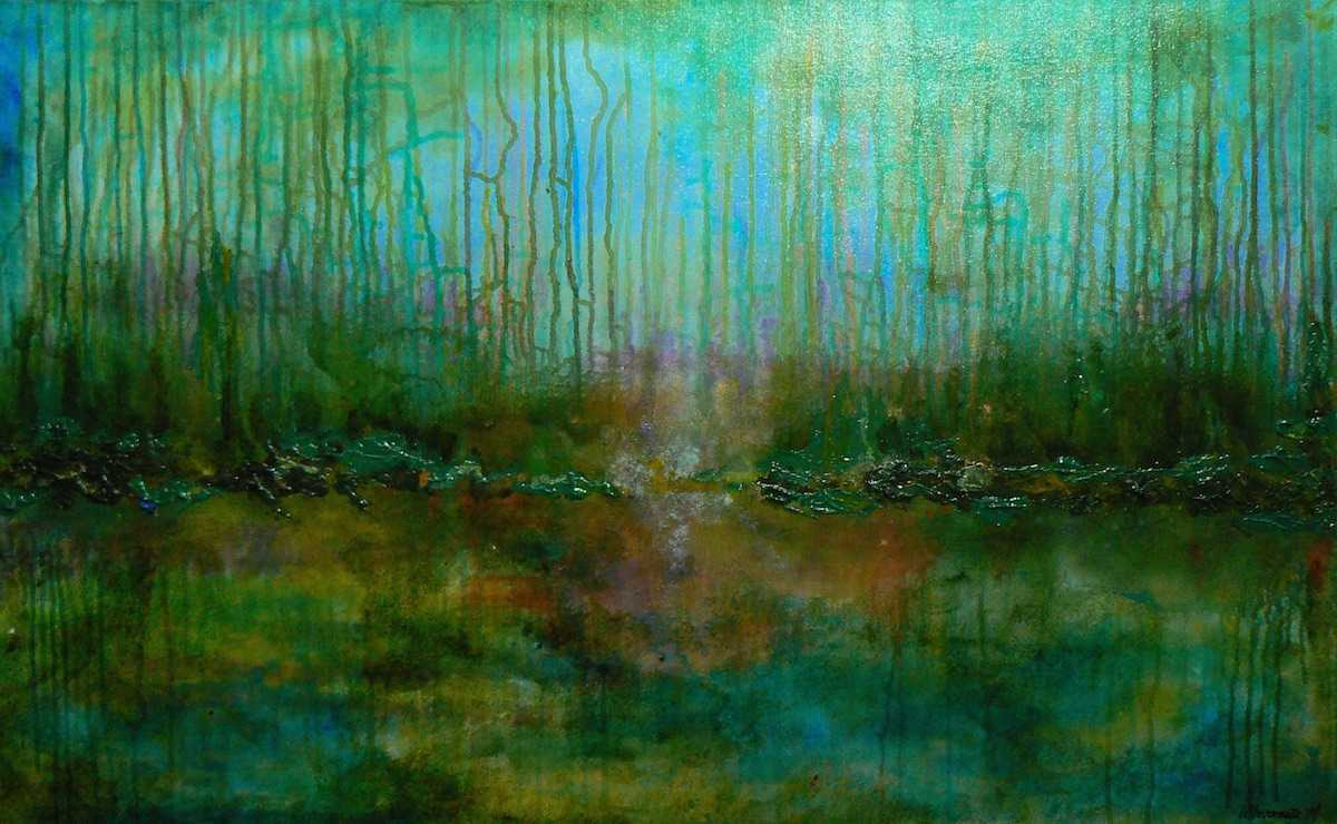 Acrylic abstract expressionist landscape