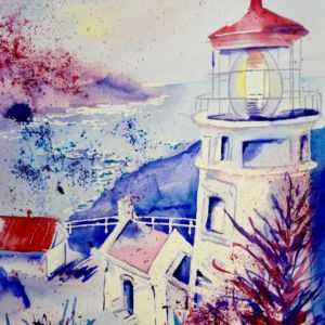 Watercolor painting of Heceta head Lighthouse with blues and reds