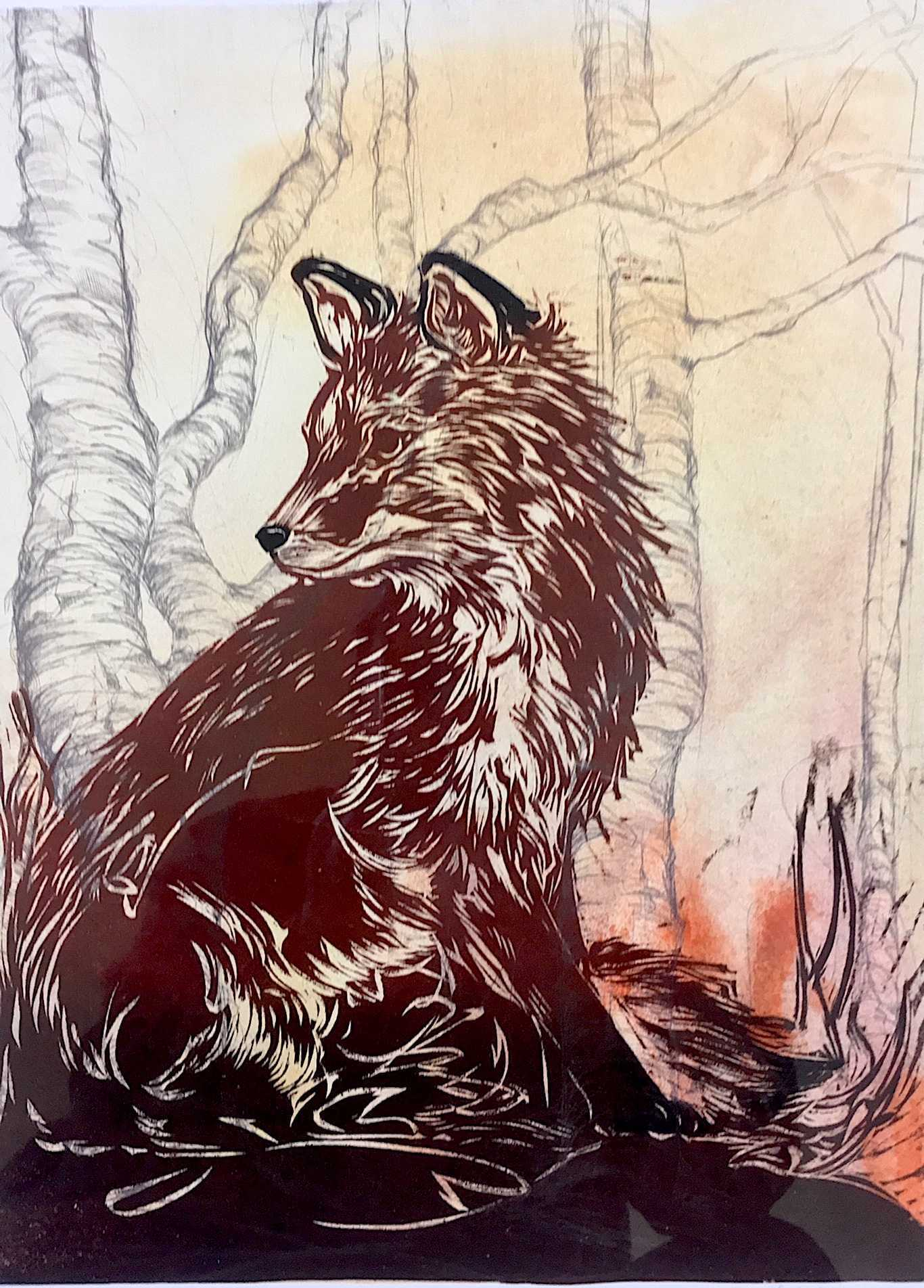 Handmade print of young fox in the forest reds, black and white
