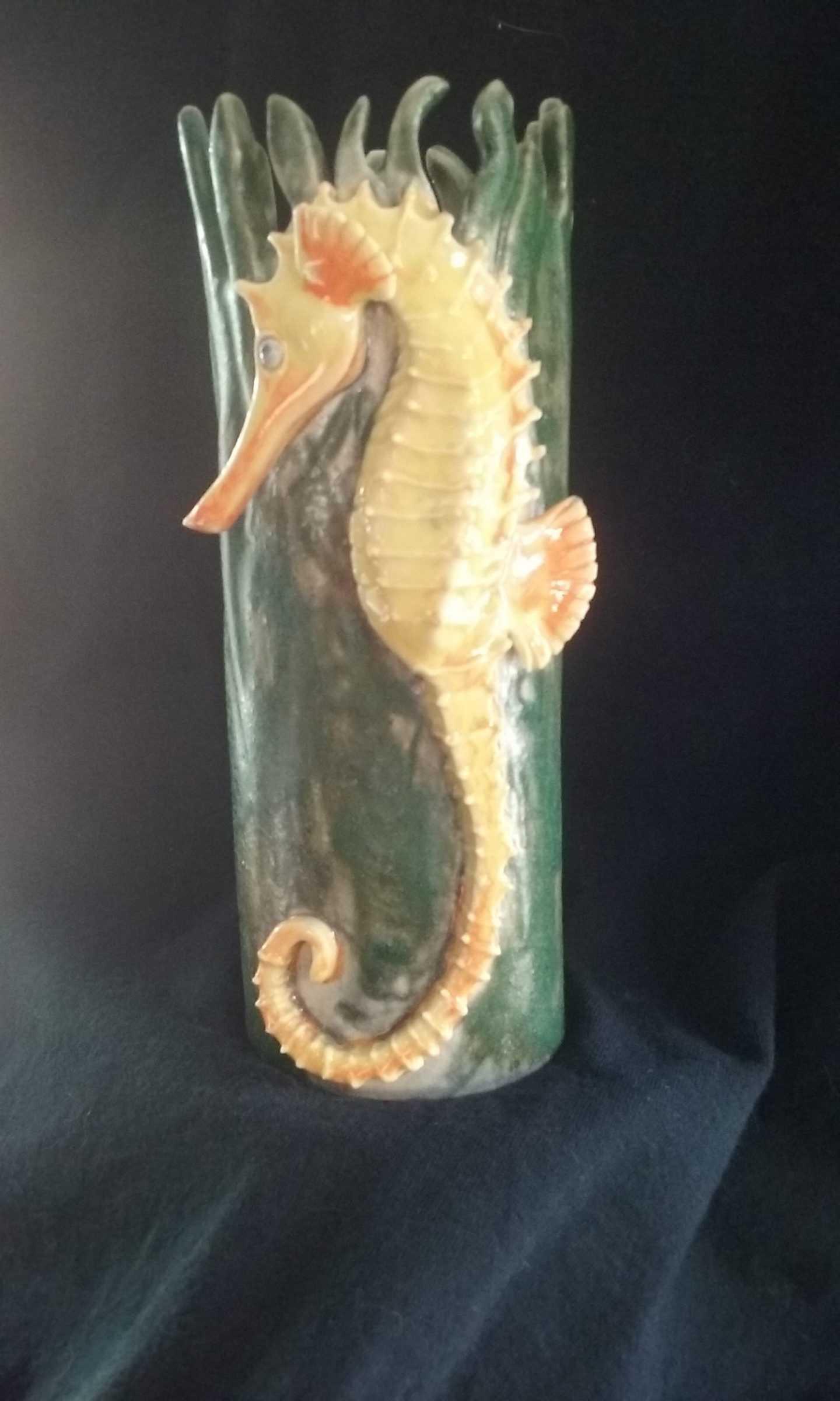 Ceramic seahorse vessel
