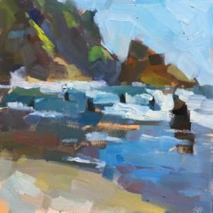 Oil painting of Oregon coast