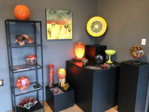 Glass art displayed in gallery, Lincoln City Glass Center