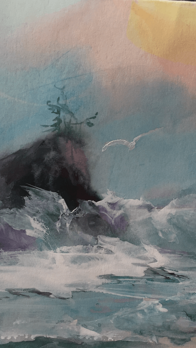 watercolor painting of crashing ocean waves, Oregon coast