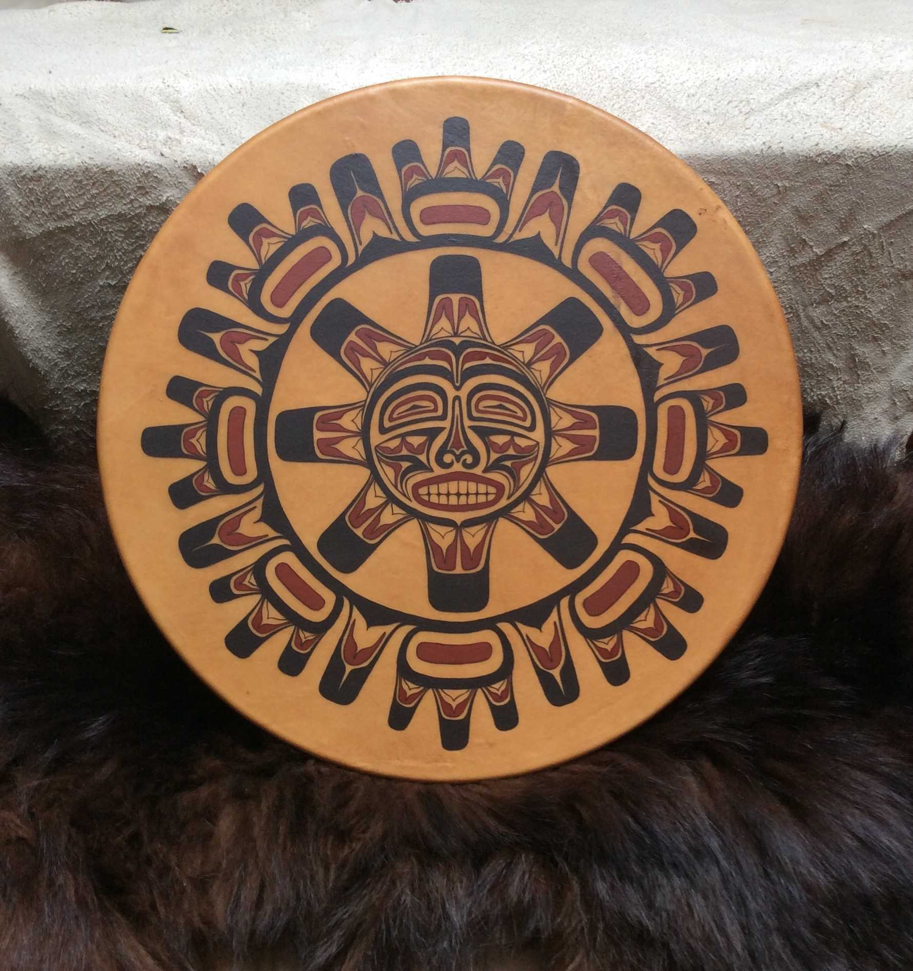 Native American Indian design on round surface