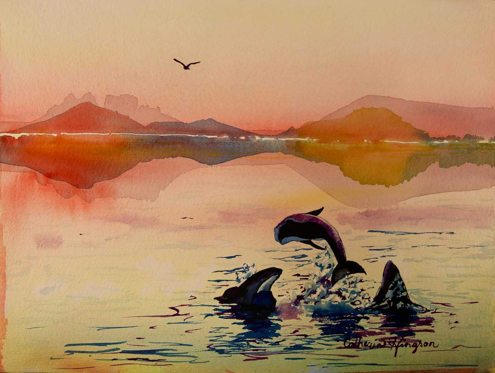 watercolor painting of orchas leaping from water at sunset