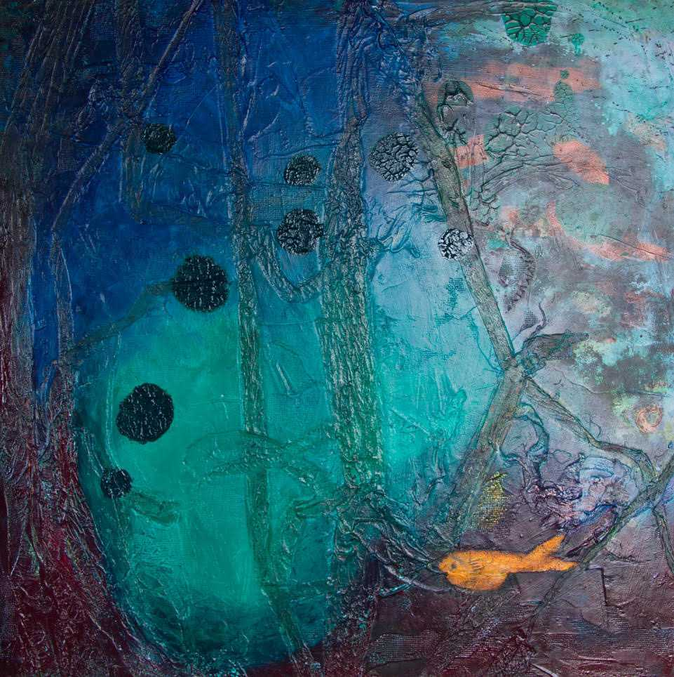 textured acrylic painting of underwater scene with small orange fish